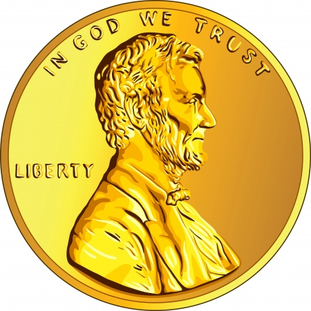 cent: American money, one cent gold coin with the image of the Lincoln  Illustration
