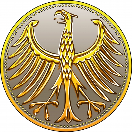 Germany Money gold and silver coin with heraldic eagle isolated on a white background Vector