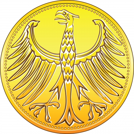 german mark: Germany Money gold and silver coin with heraldic eagle isolated on a white background