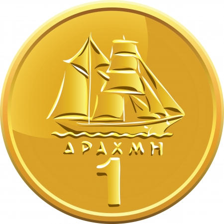 greek coins: Greek drachma money gold coin with the image of the ship Illustration