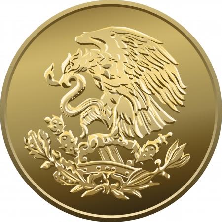 piece d or: Mexicaine de l'argent fifty centime, Gold Coin, h�raldique d'aigle perch� sur un cactus tenant un serpent dans son bec