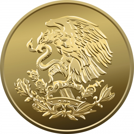 pesos: Mexican money fifty centavo, Gold Coin, heraldic eagle perched on a cactus holding a snake in its beak Illustration