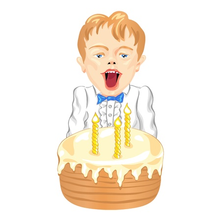 cartoon birthday cake: little boy blowing the candles on a birthday cake Illustration