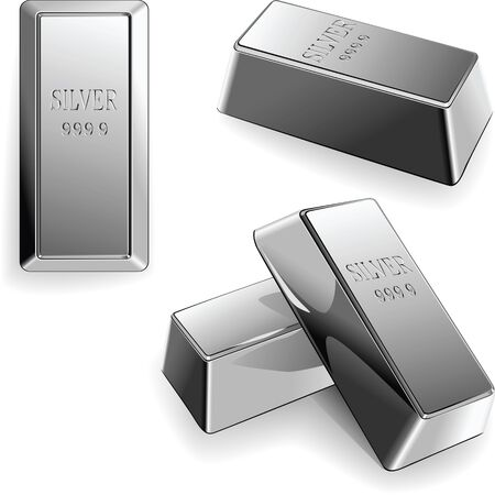 minted: minted silver bars at different angles isolated on white background