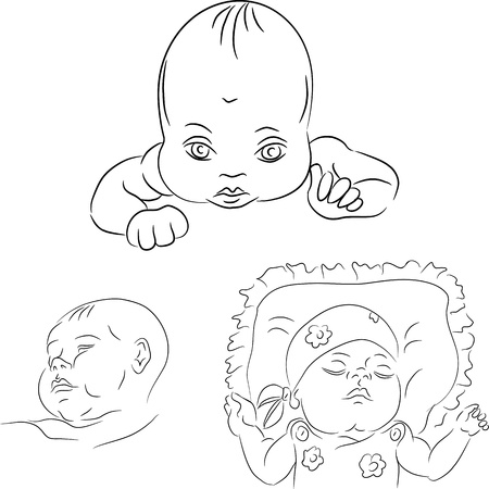 black and white sketch set of the baby toddler Stock Vector - 11839750