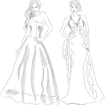 evening dress: black and white sketch of a beautiful young girls with long hair in a fashion evening dresses isolated on white background Illustration