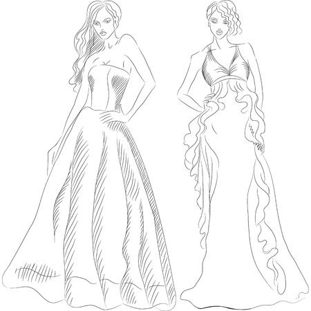 esquisse en noir et blanc d'une belle jeune filles aux cheveux longs dans une robe de soirée de mode isolé sur fond blanc
