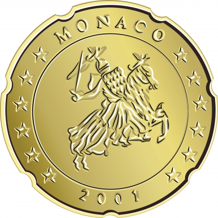 monaco: gold Monaco money coin euro cents with depicting the equestrian knight with sword raised