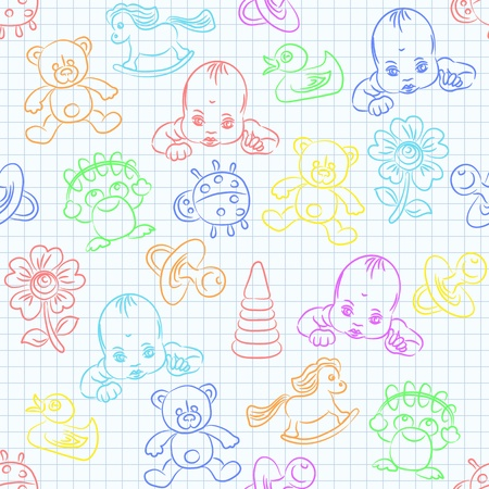 seamless background with a cute baby and childrens toys in bright pastel colors Vector