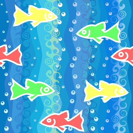 red, yellow, green, bright blue fish swim in the sea water Vector