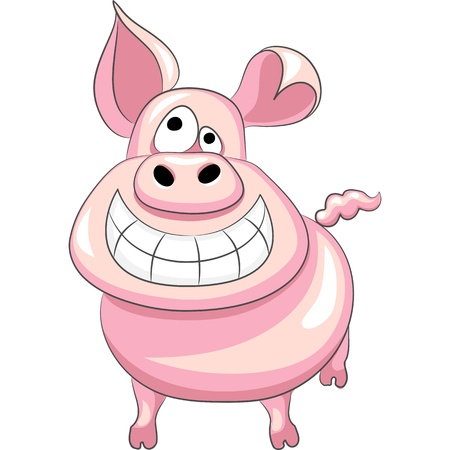 pig tails: funny cartoon happy pig smile