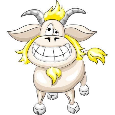 smiling goat: cartoon Funny goat smile isolated on the white background