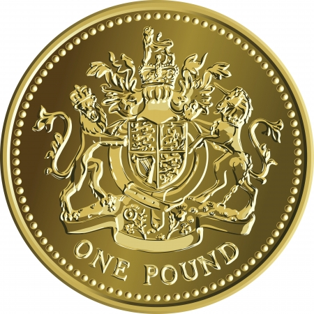 British money gold coin one pound with the image of a heraldic lion, unicorn, shield and crown, isolated on white background Vector