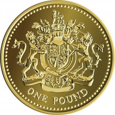 Britse geld gouden munt een pond met de afbeelding van een heraldische leeuw, eenhoorn, schild en de kroon, op een witte achtergrond Vector Illustratie