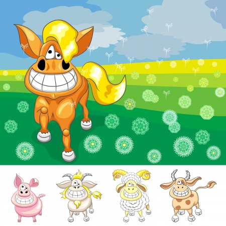 cartoon Funny happy horse smile on the summer field and set farm animals: cow, goat, pig and ram Vector