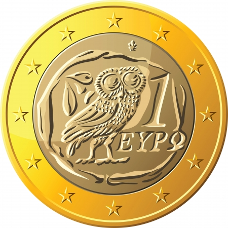 greek coins: Greek money gold coin euro with the image of an owl - the emblem of Pallas Athena, a symbol of wisdom and the olive branch Illustration