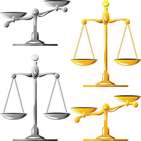 balanza: escamas de oro y plata equilibrada y desequilibrada aislados sobre fondo blanco Vectores
