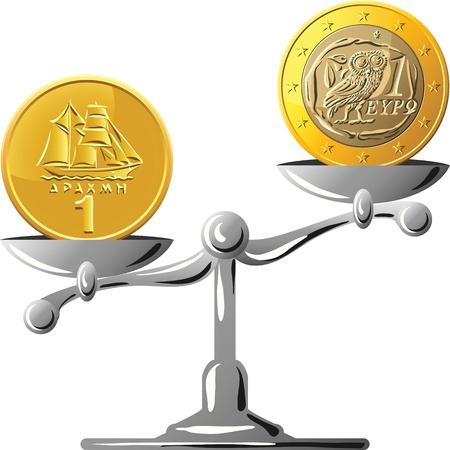 oposicion: concepto de una moneda de dracma griego antiguo y el euro de la moneda en la balanza de oro