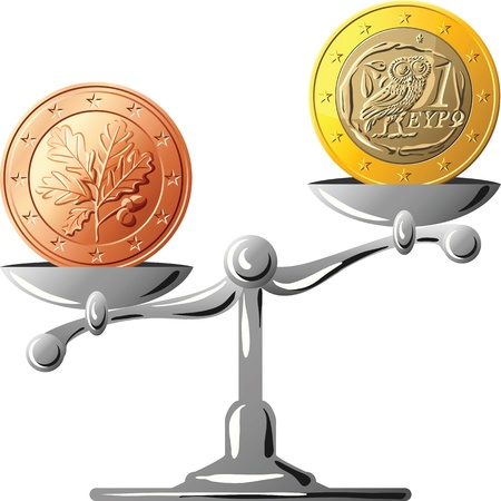 greek coins: concept of an German coin euro and Greek coin euro on the silver scales