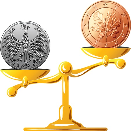weighing: concept of an old German coin mark and coin euro on the gold scales Illustration