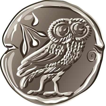 ancient Greek drachma money silver coin with the image of the owl and olive Vector