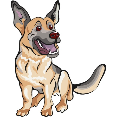 cartoon dog German shepherd breed sitting and smile Vector