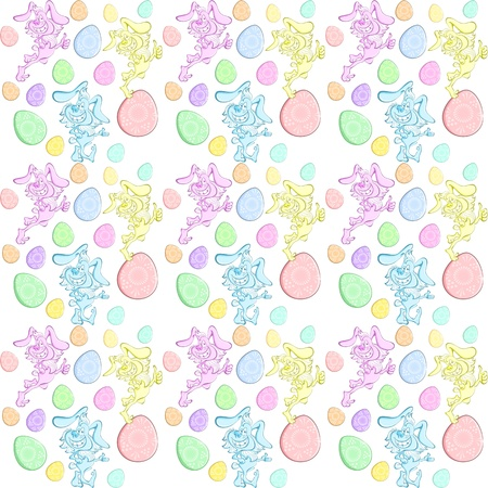 seamless background with cartoon funny happy blue, pink and yellow rabbit smiles broadly. Vector
