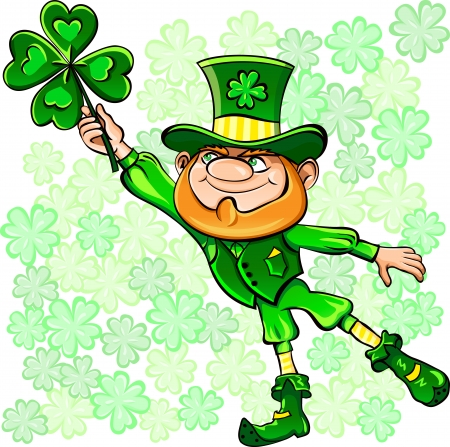 Vector St. Patrick's Day happy leprechaun on the fly leaf clover Stock Vector - 12275414