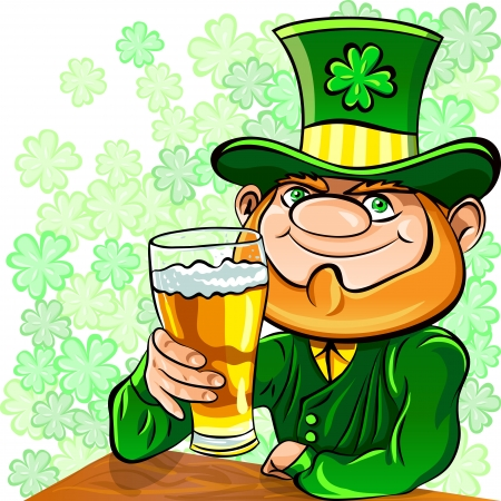 Vector St. Patricks Day happy leprechaun drinks beer