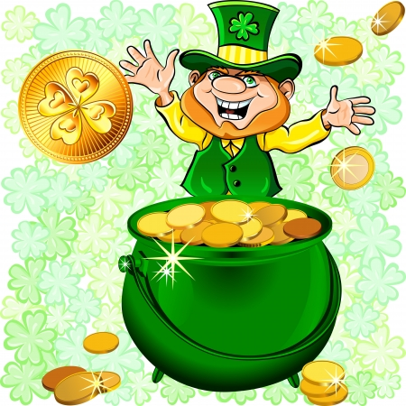 red clover: Vector St. Patricks Day happy leprechaun with a pot full of gold money coin