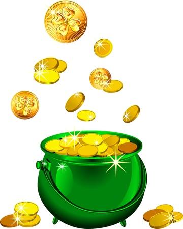 Día de San Patricio s olla de metal brillante, llena de monedas de oro leprechaun aislado en el fondo blanco