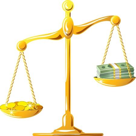 meaning: escala es desequilibrado con coines dinero y billetes de banco, aisladas sobre fondo blanco Vectores