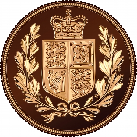 sovereign: British money gold coin Sovereign with a crown, coat of arms, with a laurel wreath, isolated on white background Illustration