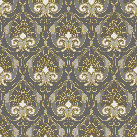 Traditional vintage pattern, gold ornament on a silver background Vector