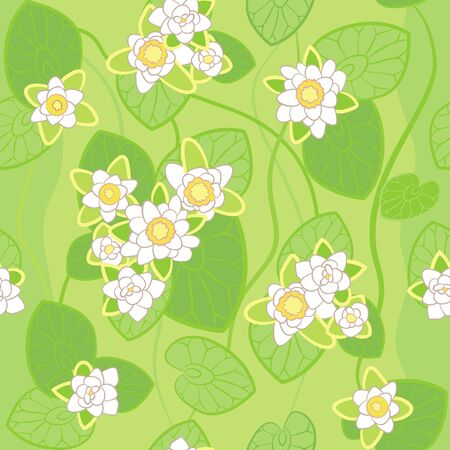 nymphaea: seamless pattern of white lotus on the background of green swamp water