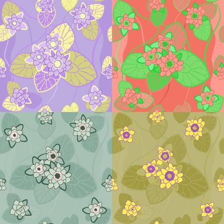 nymphaea: four color combinations seamless pattern with flowers and leaves of lotus