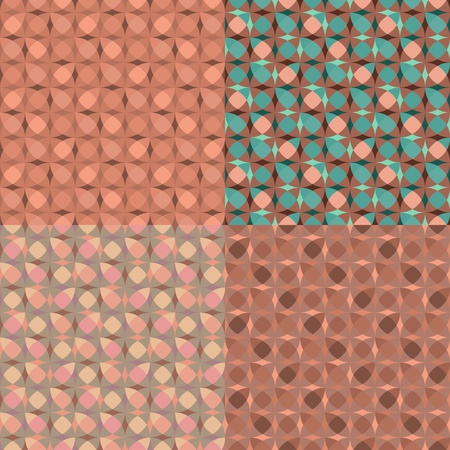 set seamless pink geometric pattern Vector