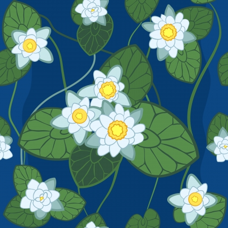 nymphaea: seamless pattern of white lotus on the background on the background of green leaves and blue water