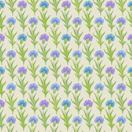 cornflowers: seamless floral pattern with blue cornflowers on the yellow background Illustration