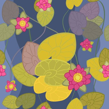 seamless pattern of a beautiful flower pink lotus  on the background of blue water Vector