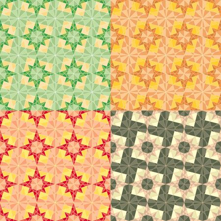 vector seamless set geometric pattern with stars Vector