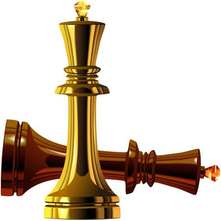 Black and White Chess King of wood and gold isolated on white background Vector