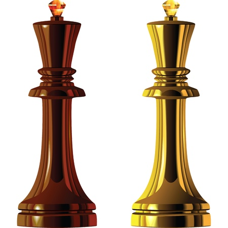 polished wood: Black and White Chess King of wood and gold isolated on white background
