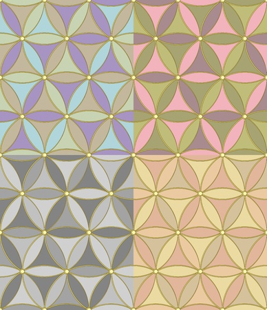 seamless geometric pattern of hexagons of four pastel color combinations Vector