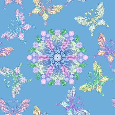 quilling: elegant floral lace seamless white lacy pattern with colorful butterflies