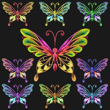 quilling: Fine collection of multicolored butterflies on a black background