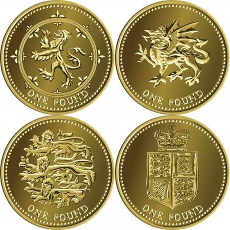 libra esterlina: establece oro británico acuñar moneda una libra esterlina con los emblemas de Inglaterra, Escocia, Gales, Reino Unido Vectores