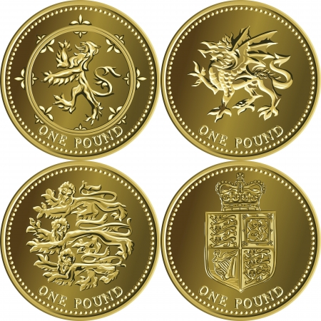 rampant: set British money gold coin one pound sterling with the emblems of England, Scotland, Wales, United Kingdom