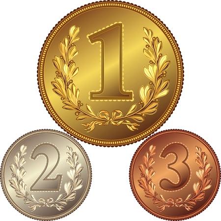 piece d or: or, d'argent et m�daille de bronze pour gagner la comp�tition avec l'image d'une couronne de laurier et les premier, deuxi�me, troisi�me place