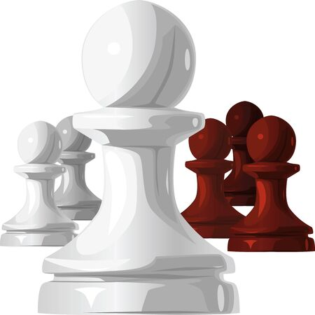 chess game: Black and White Chess pawn isolated on white background Illustration